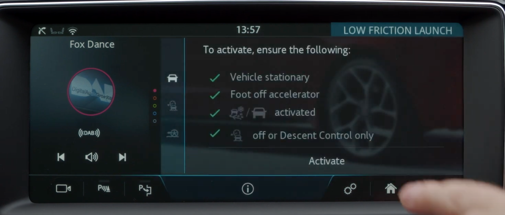 A list of steps that the user has to ensure before activating low friction launch