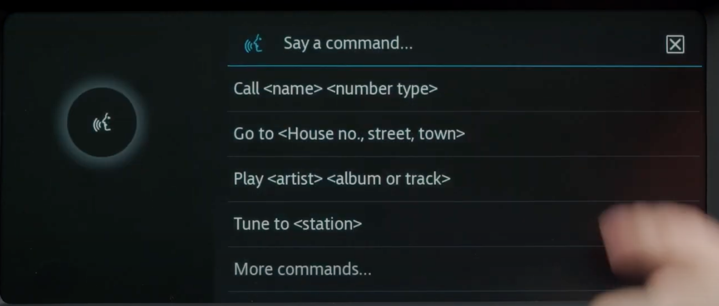 Voice assistant screen with a list of possible commands