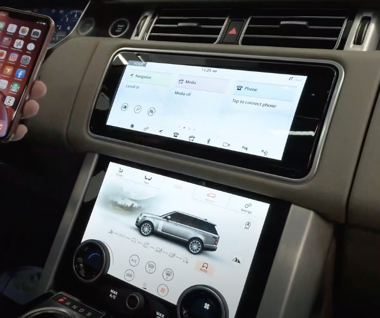 Image of two displays in a car