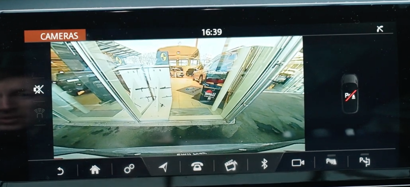 Rearview camera view on the infotainment display