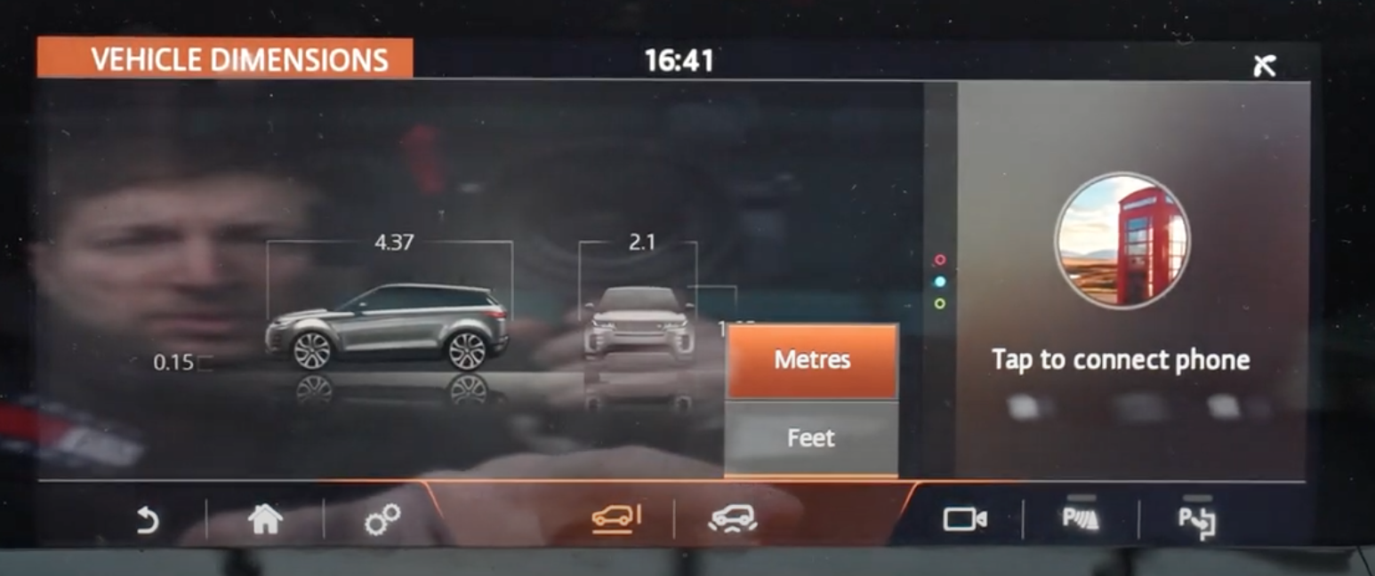 Selecting if the dimensions of a car will be displayed in metres or feet