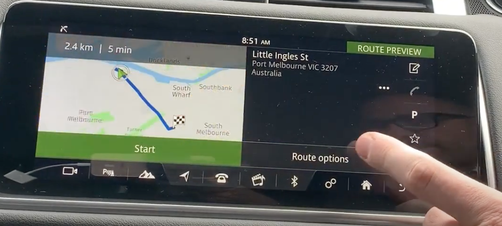 Route preview with the journey displayed on the map and the option to start route