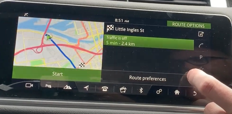 Navigation map with route preview and route preferences