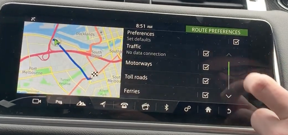 Map view with route preference settings