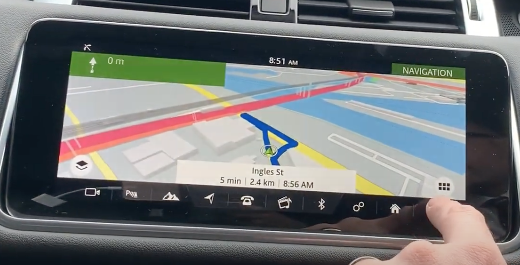 Turn by turn navigation directions with route highlighted in blue