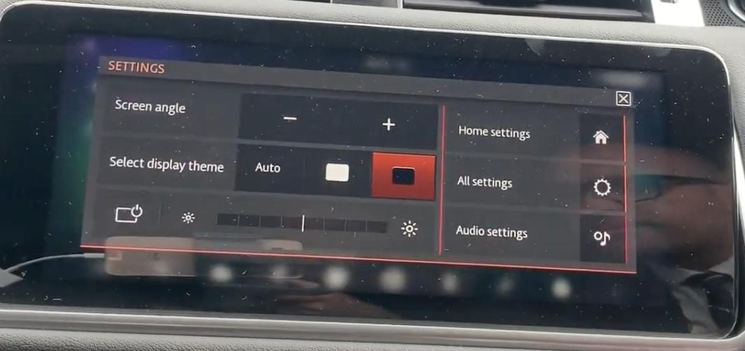 Display settings to adjust theme, brightness and angle