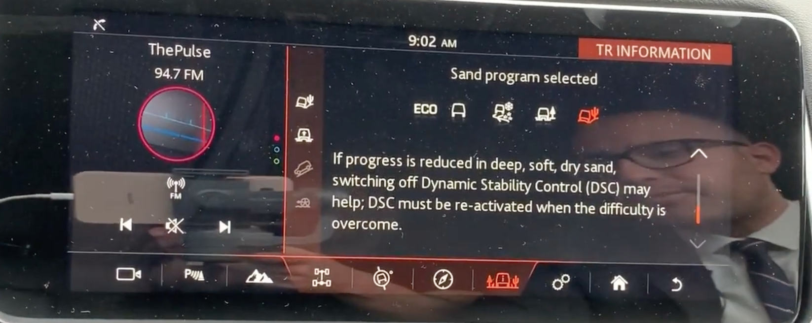 Information and tips on the selected sand drive mode