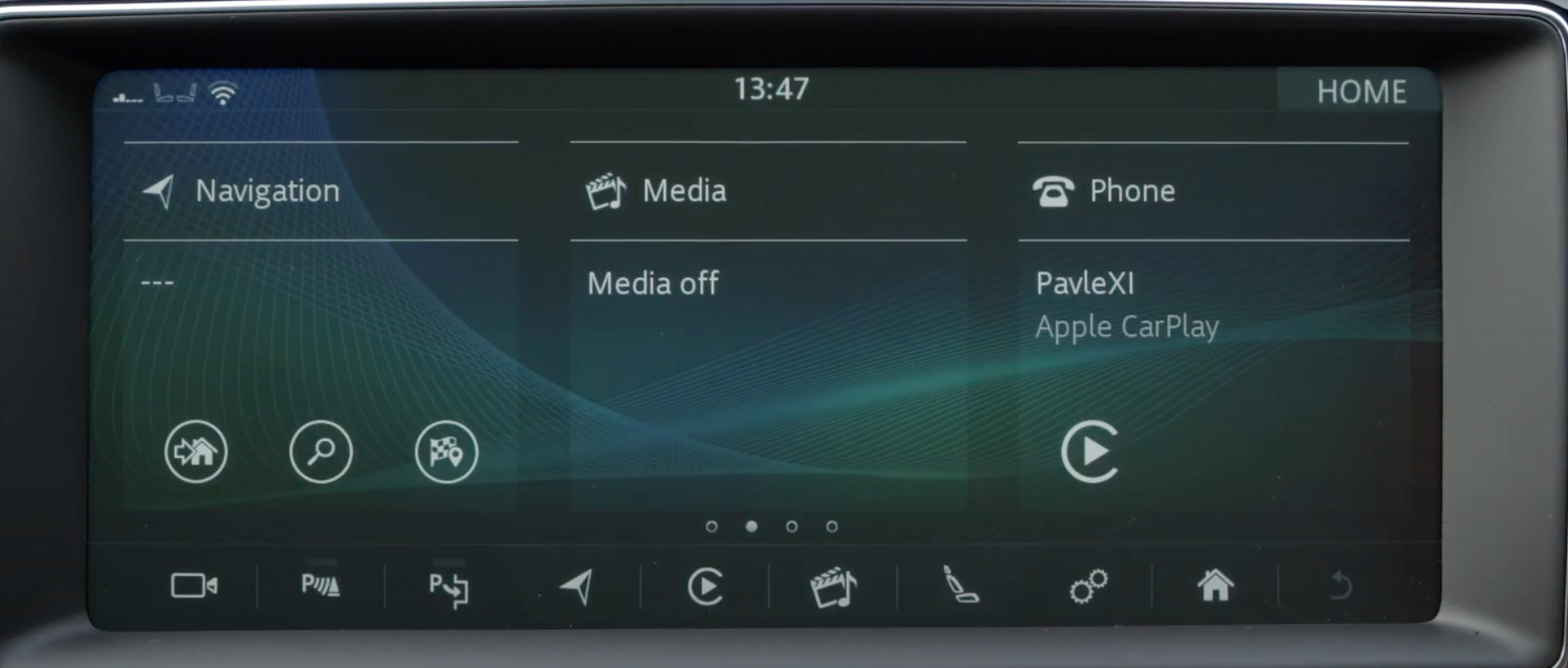 A view of the home screen of the infotainment system with navigation, media and phone