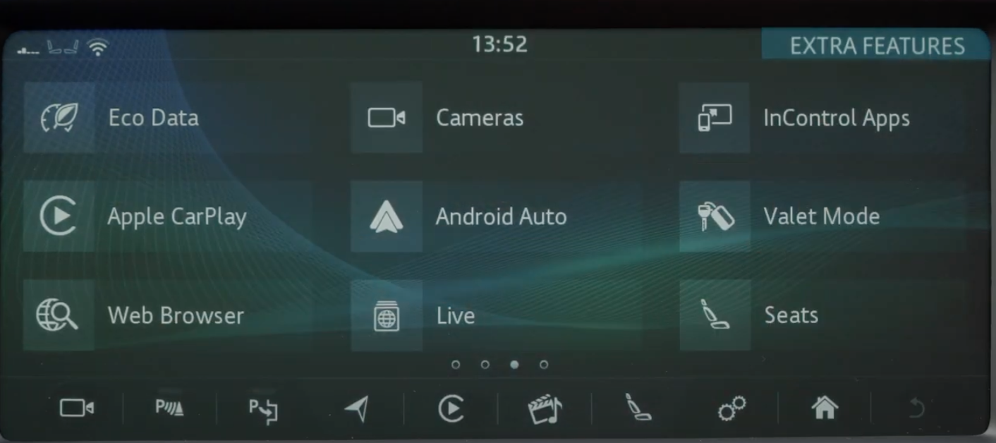A list of all the apps on the infotainment system