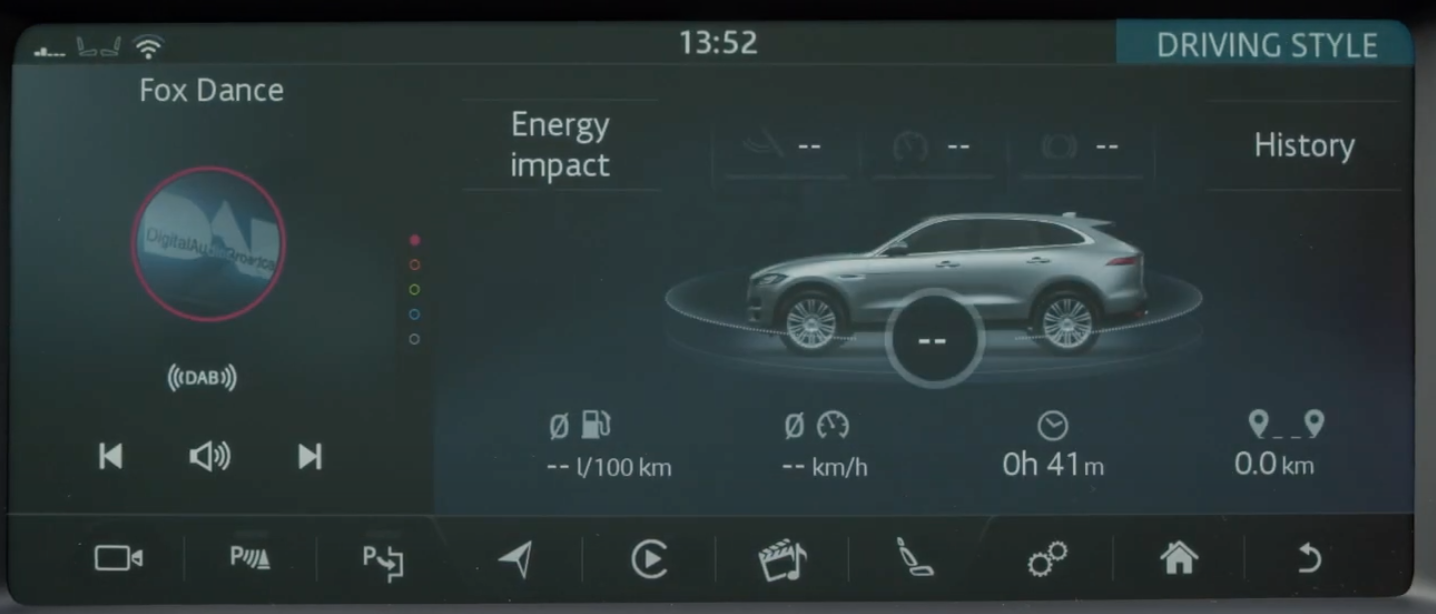 Performance information such as distance covered and speed with an image of the vehicle