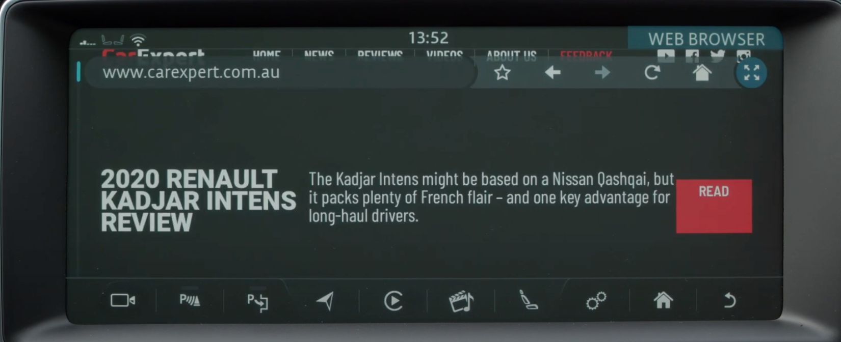 A website page displayed on the infotainment screen