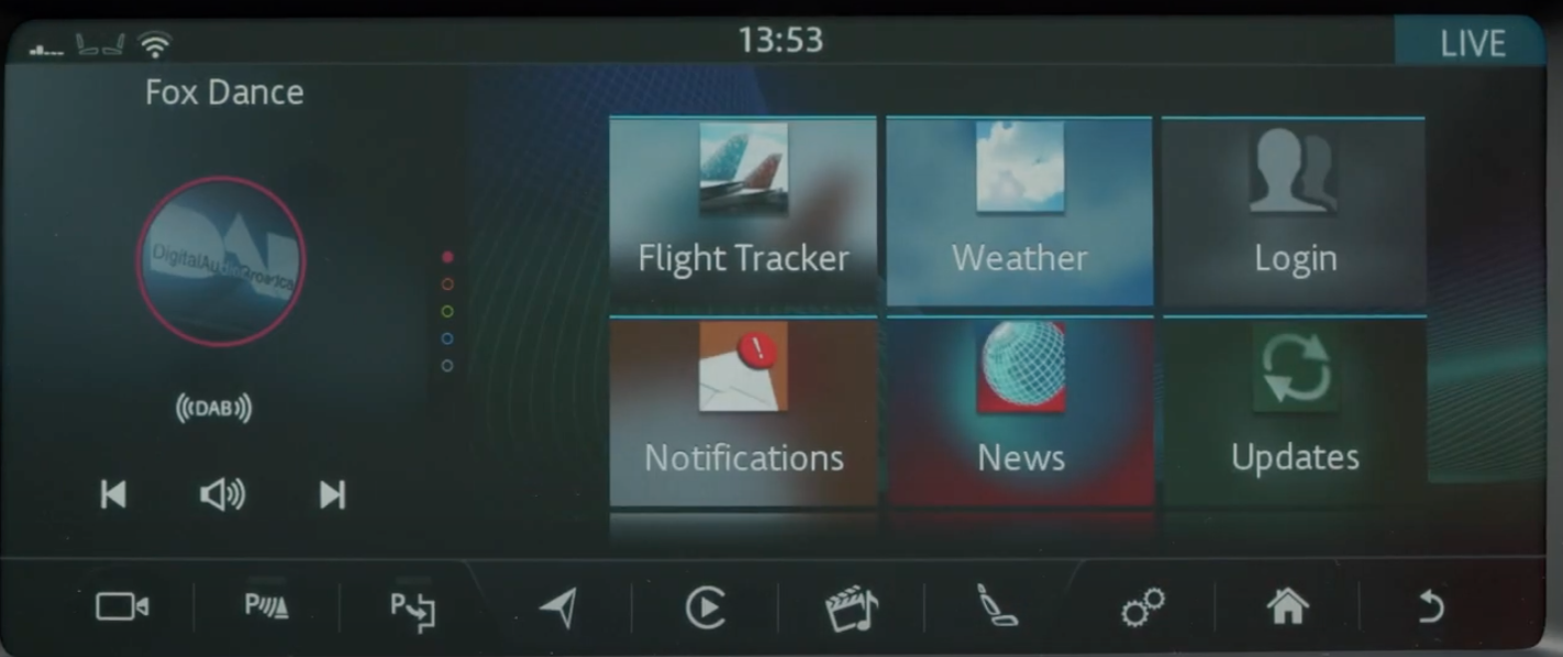 Various app lists such as flight tracker, weather and news