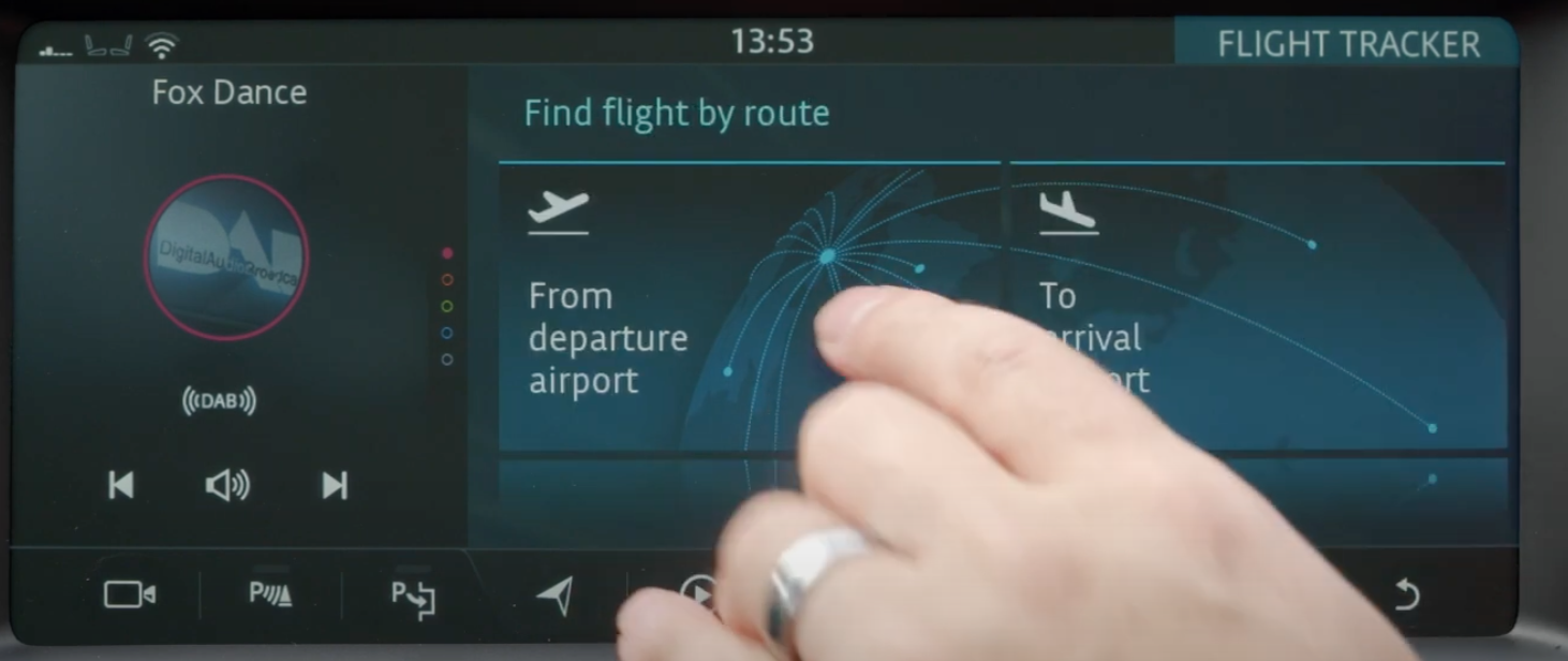 Finding a flight by route option on the flight tracker app