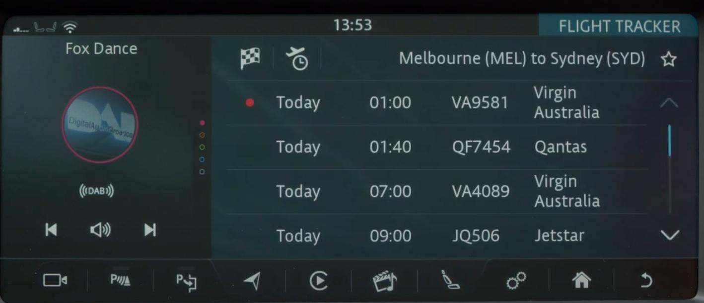 A list of flights on the flight tracker app
