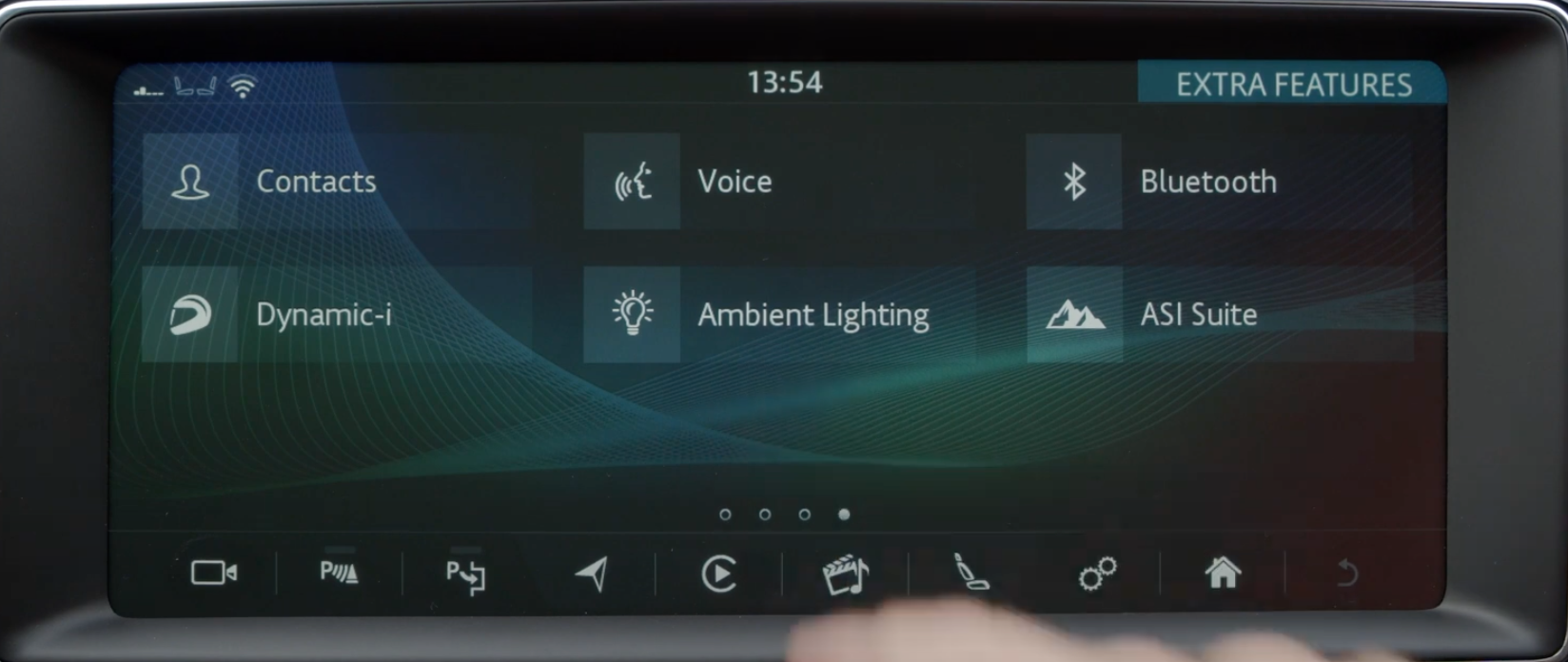 A list of various apps in the infotainment system with icons