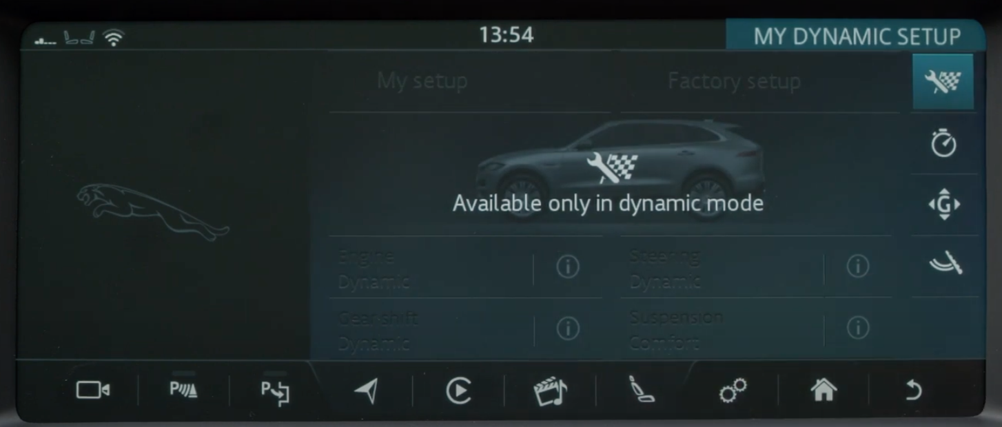 Disclaimer indicating that certain settings are only available in dynamic mode