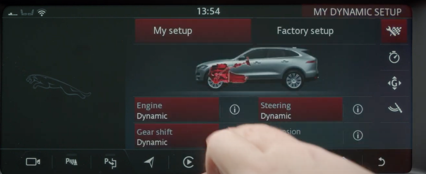 Setting the engine, steering, gear shift for the dynamic driving mode