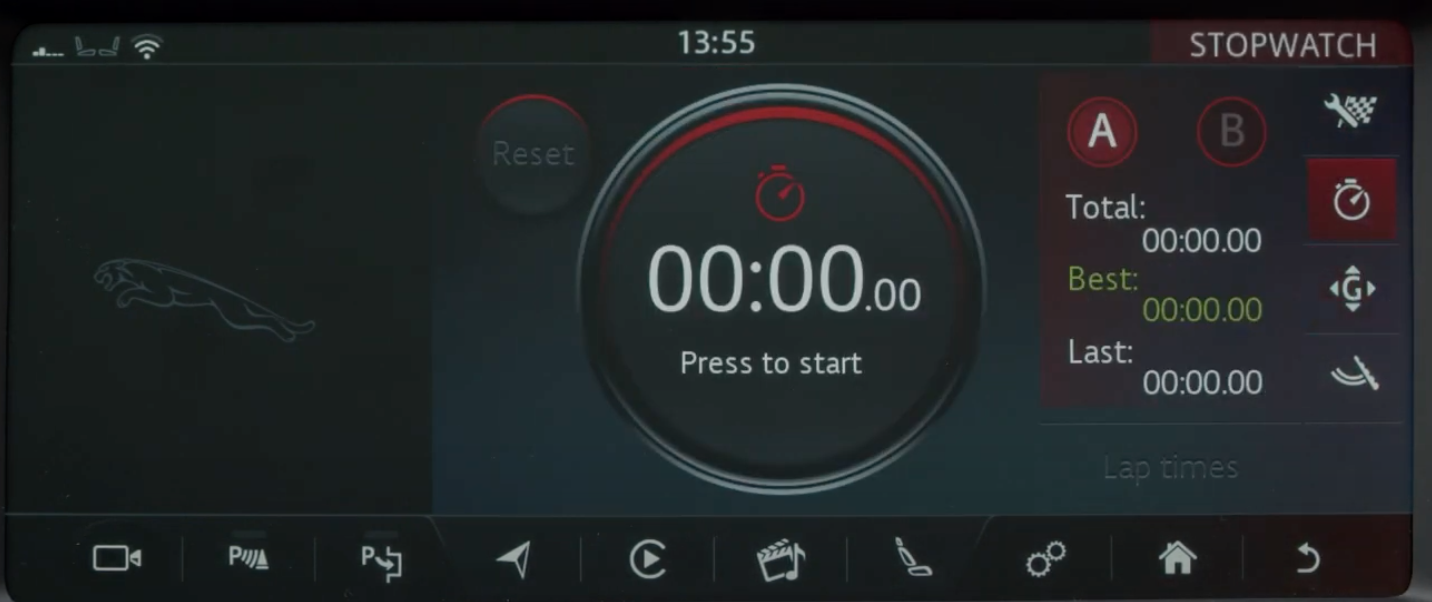 A stopwatch interface to determine the performance of a vehicle