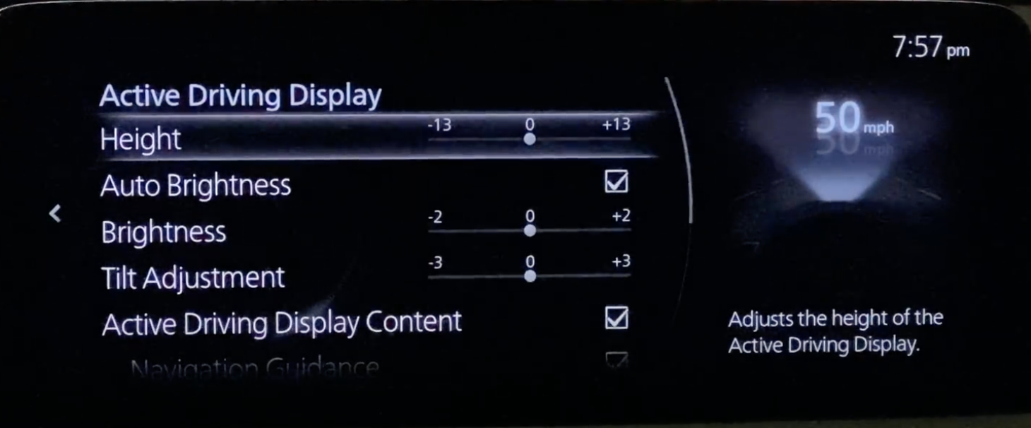 Settings page for the heads up display