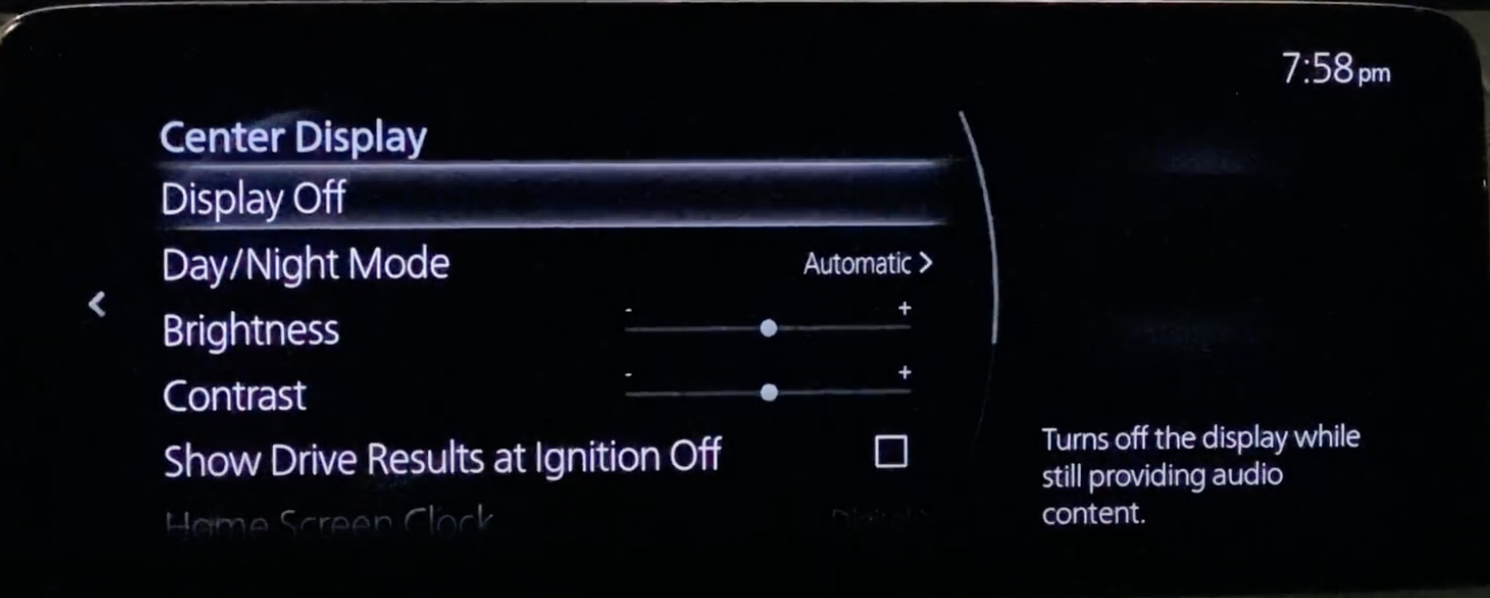 Settings for the infotainment display such as turn on and off, day or night mode or brightness