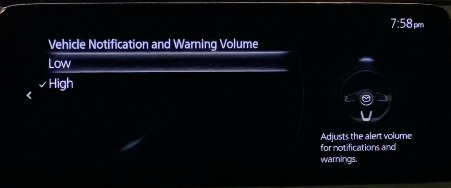 Adjusting the warning volume to low or high