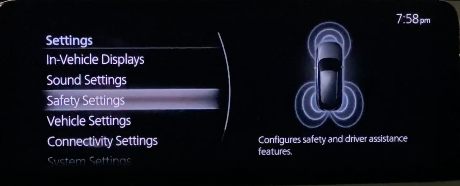 Safety settings chosen out of various vehicle settings with an image of a car on the side