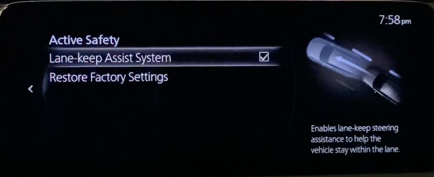 Settings for the lane-keep assist system