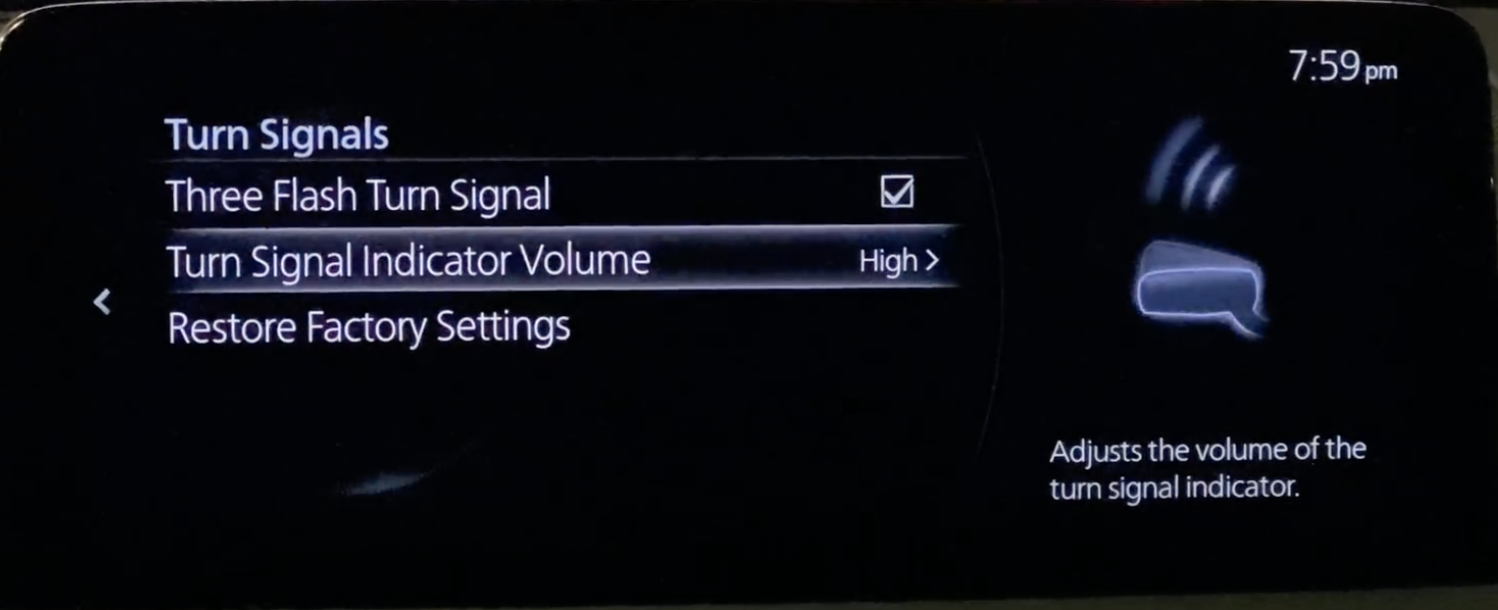 Settings for the turn signal indicator volume