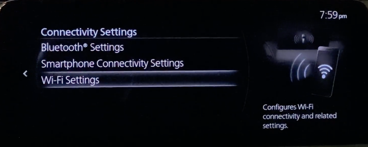Setting up the wifi settings of a vehicle