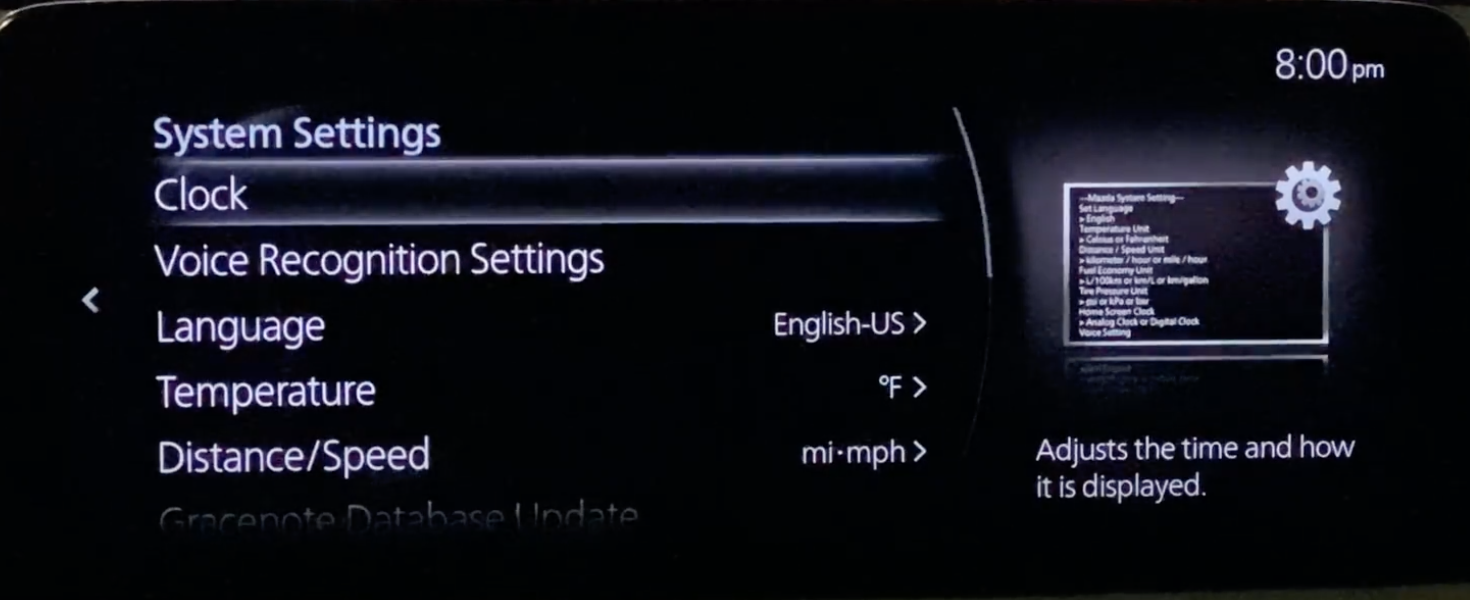 Adjusting the general settings of the infotainment system such as clock