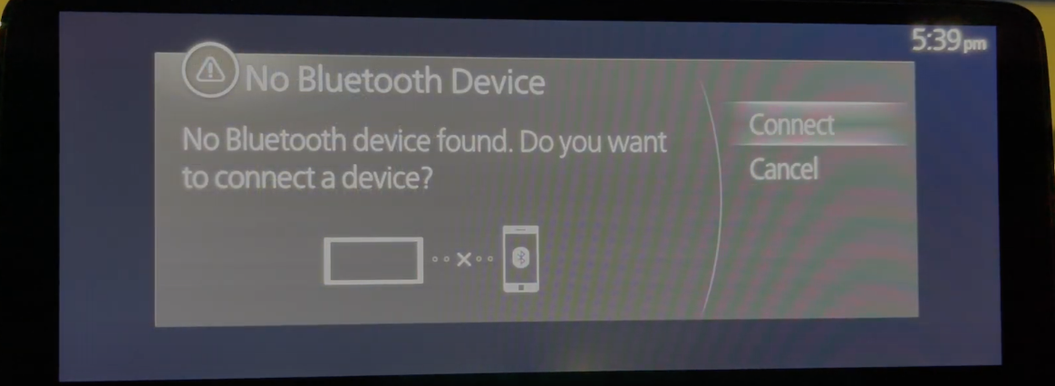 Disclaimer indicating that there are devices found to connect Bluetooth with the option to connect one