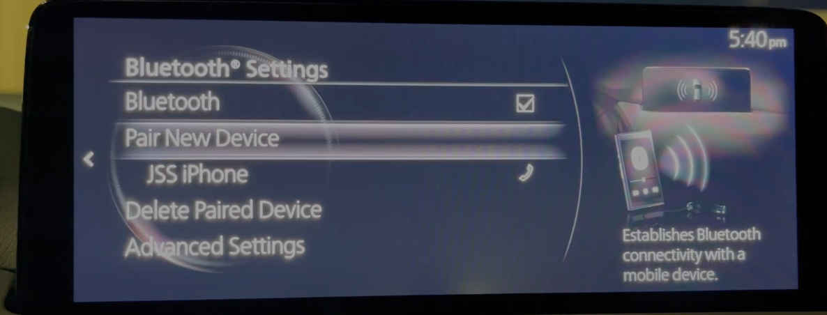Bluetooth settings such as connecting or deleting a device