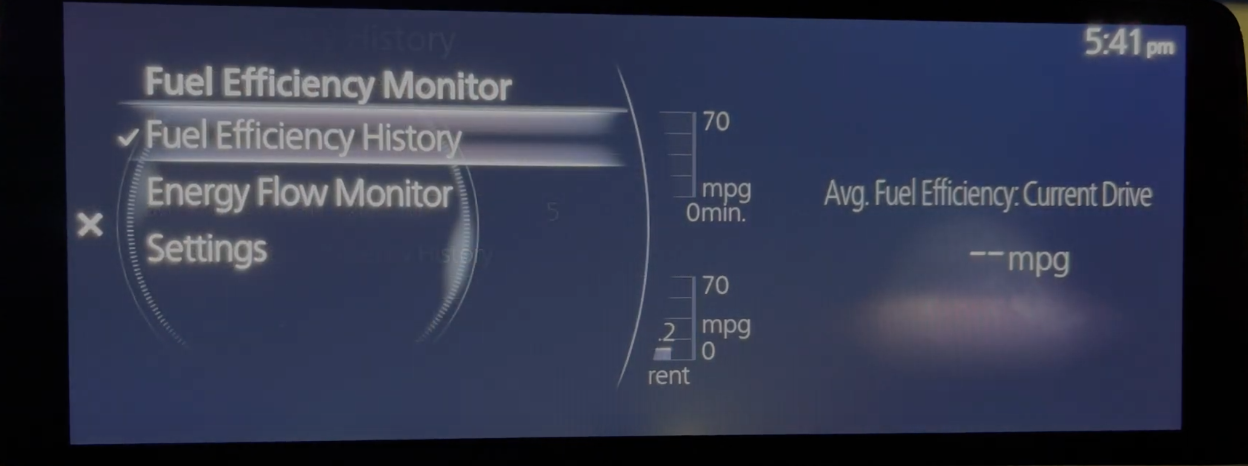 Fuel efficiency monitor screen with the option to view settings and energy flow monitor