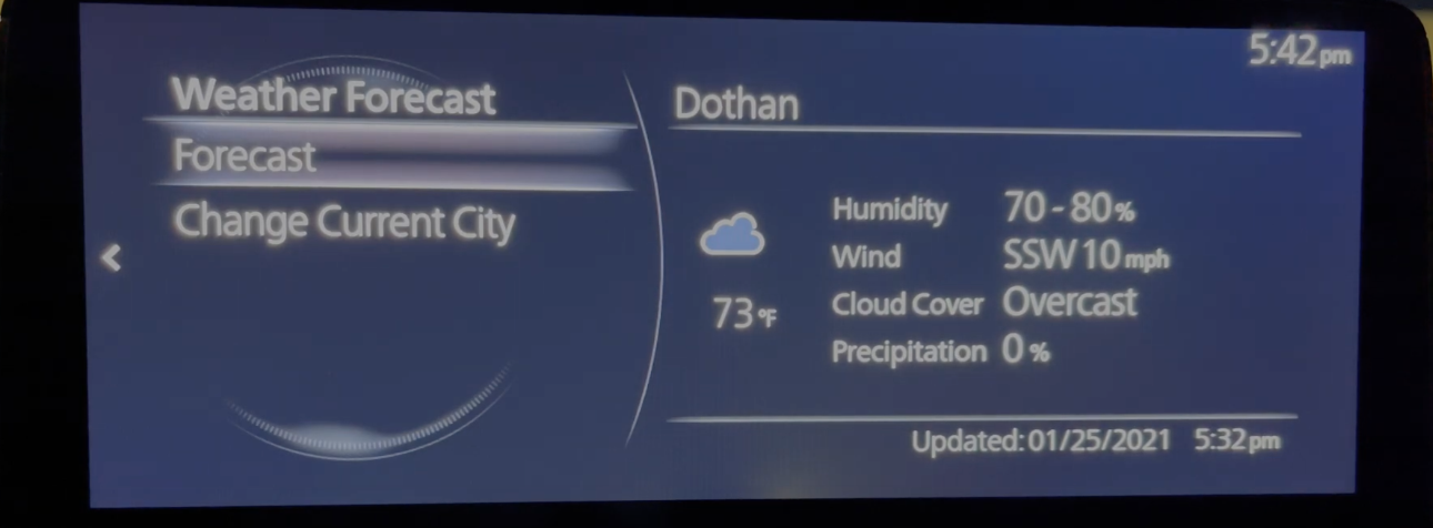 Weather forecast with humidity, wind and precipitation information