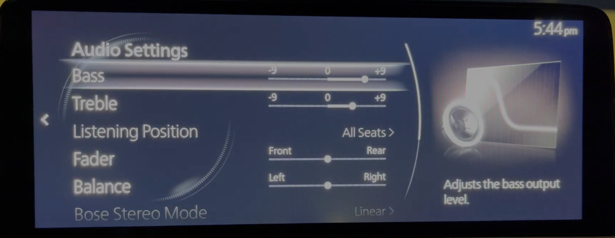 Adjusting the audio settings such as bass and treble