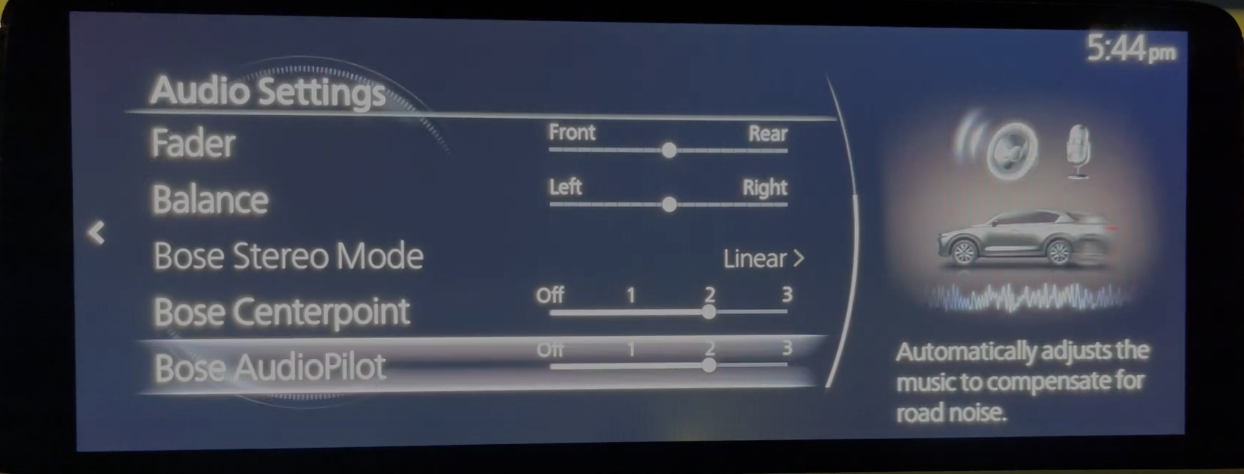 Adjusting the audio settings to compensate for road noise