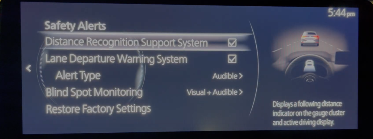Settings page for safety alert systems