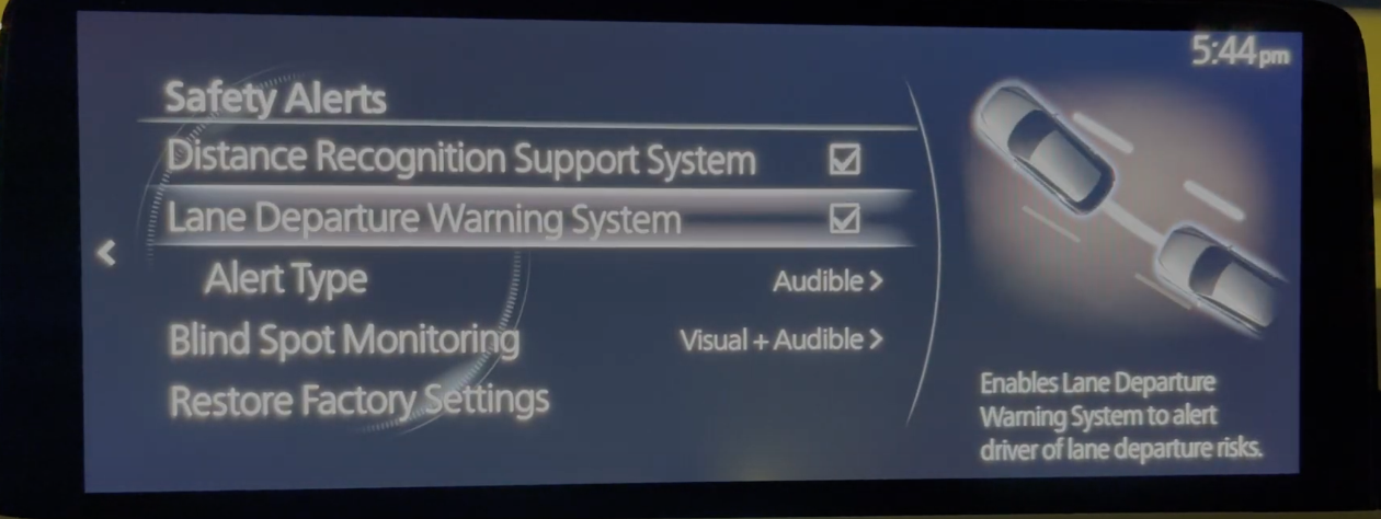 Settings for the lane departure warning system under safety alerts