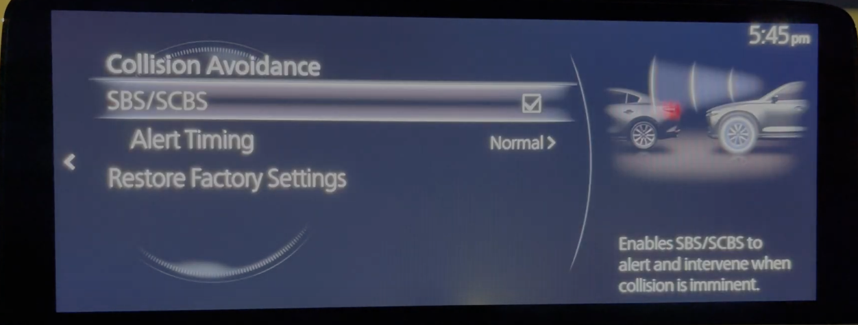 Adjusting the settings for the collision avoidance