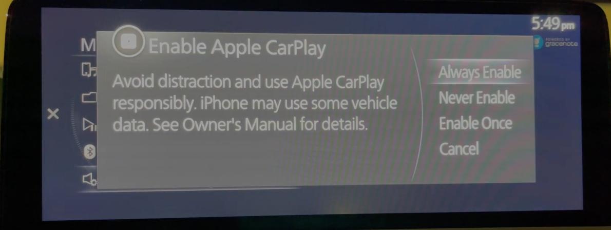 Options to enable Apple Carplay