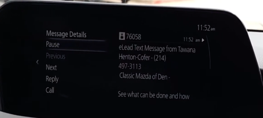 Viewing a text message through the infotainment display