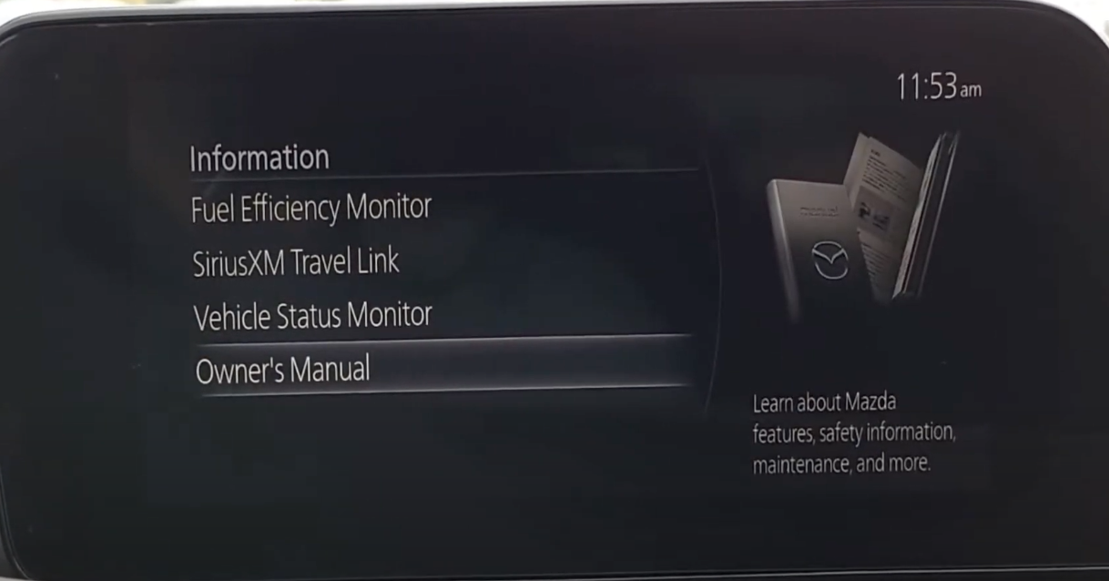 List of options to get various different information about the car including the owner's manual