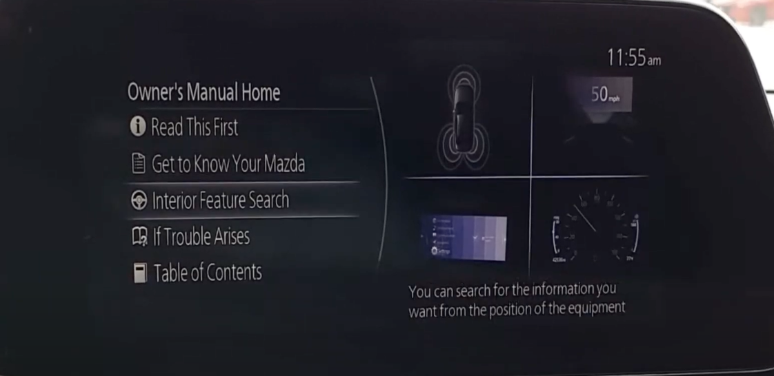 Option to search interior features from the owner's manual