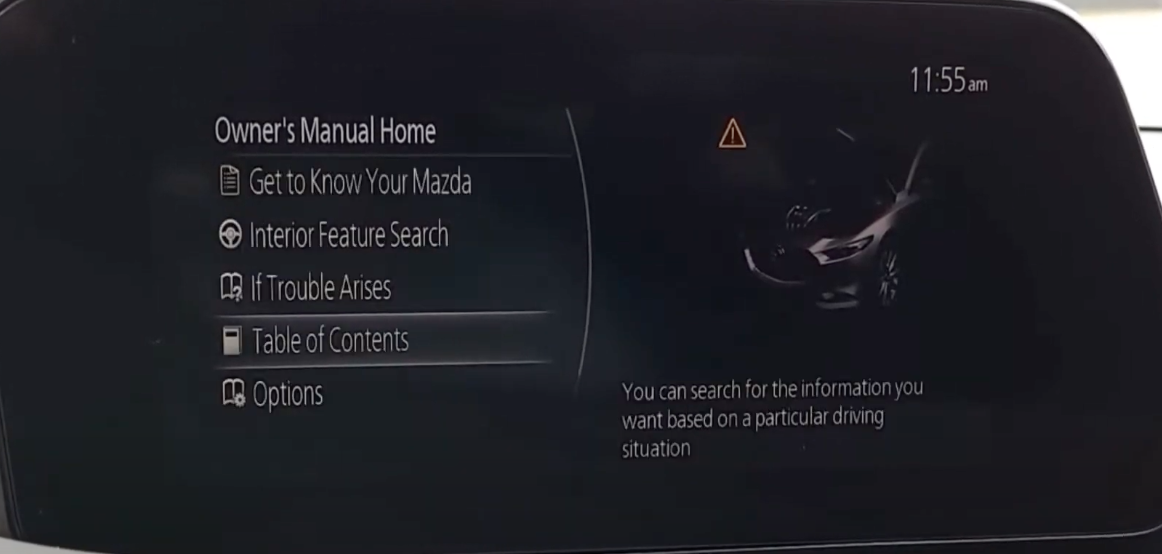Option to search information through the owner's manual