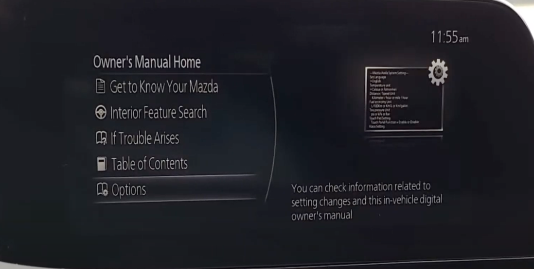 Settings for the owner's manual