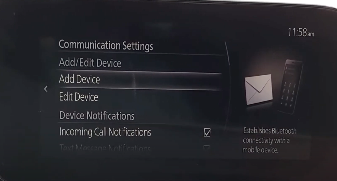 Device manager screen to add/edit devices that are connected to the vehicle