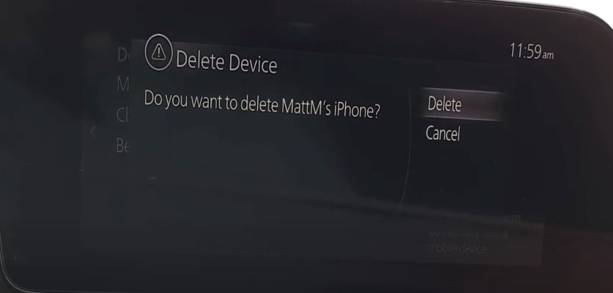 Option to delete a device that is already connected to a vehicle