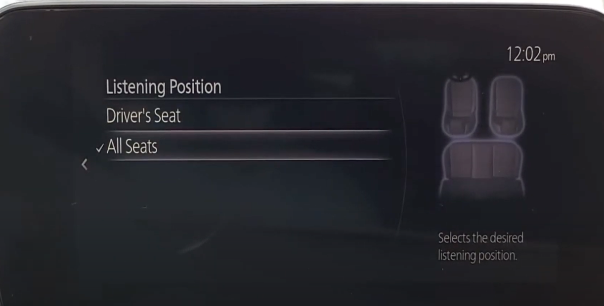 Adjusting sound settings according to the driver's seat or all seats
