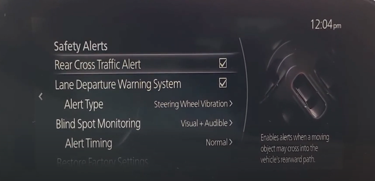 Turning on and off various alerts for safety systems