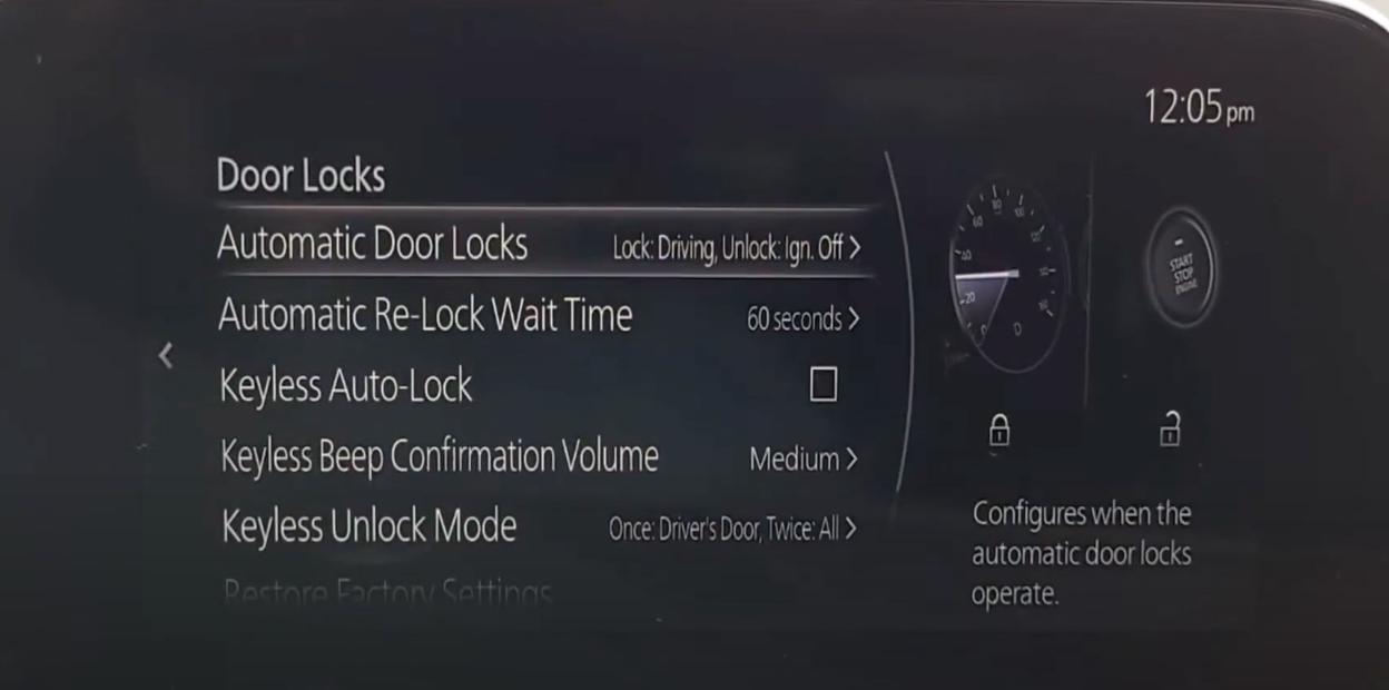Settings for door locks such as automatic door locks or keyless auto-lock